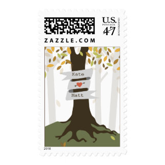Forest Woodland Fall Autumn Wedding Postage