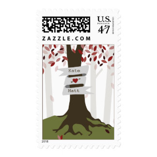 Forest Woodland Red Wedding Postage