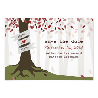 Forest Woodland Red Wedding Save The Date Personalized Invites