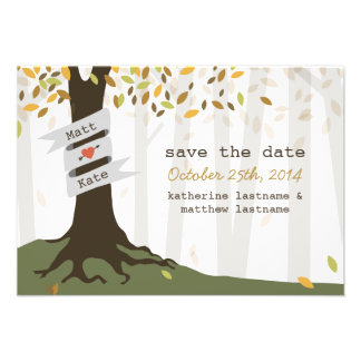 Forest Woodland Wedding Fall Autumn Save The Date Custom Invitations