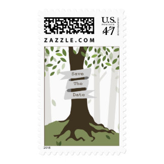 Forest Woodland Wedding Save The Date Postage