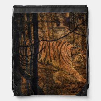 Forest Woodland wildlife Majestic Wild Tiger Drawstring Backpack