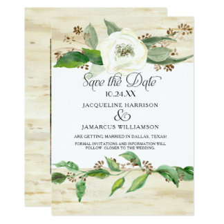Forest Woodland Wood Leaf BOHO Photo Save the Date Card