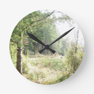 Forest Woods Leaves Trees Hiking Scenic Oregon Round Clock