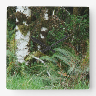Forest Woods Meadow Ferns Oregon Trail Photography Square Wall Clock
