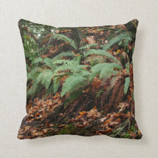 Forest Woods Meadow Ferns Oregon Trail Photography Throw Pillow