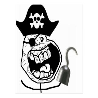 Forever Alone Pirate Comic Face Postcard