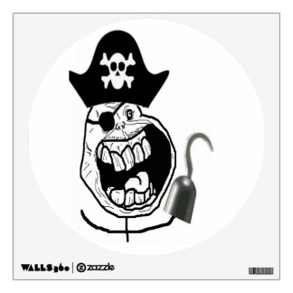 Forever Alone Pirate Comic Face Wall Sticker