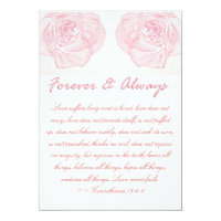 Forever & Always Rose Scripture Wedding Invitation