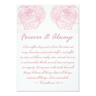 Forever & Always Rose Scripture Wedding Invite