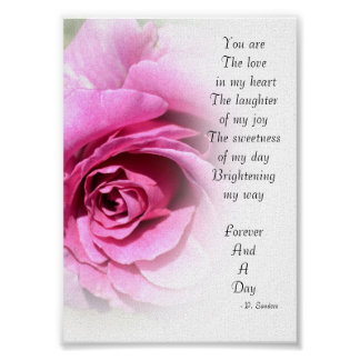 Forever and a Day Poem with Rose Poster