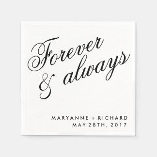 Forever and Always Wedding Napkins Standard Cocktail Napkin