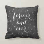 "Forever and Ever Cushion<br><div class=""desc"">Delicate floating seeds and ribbon script on a soft chalkboard background accent this cushion. Forever and ever,  reminds us of dandelion wishes,  romantic dreams and fairytale endings,  making it perfect for the newlyweds or wedding sweetheart table. Scroll down to see other coordinating cushions.</div>"