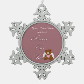 Forever Angel, Pregnancy and Infant loss, Pink Snowflake Pewter Christmas Ornament