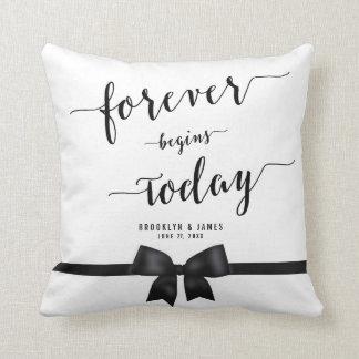 Forever Black And White Wedding Pillows Black Bow