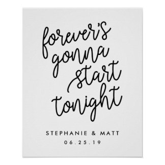 Forever | Black and White Wedding Welcome Sign