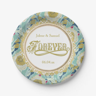 Forever Blue and Gold Floral Wreath Paper Plates 7 Inch Paper Plate