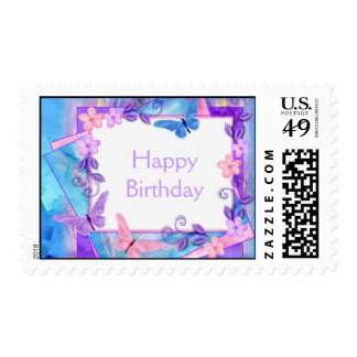 forever butterflies-Happy Birthday Postage Stamps