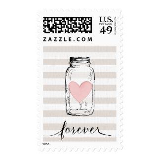 Forever Calligraphy Mason Jar Stripe Wedding Stamp