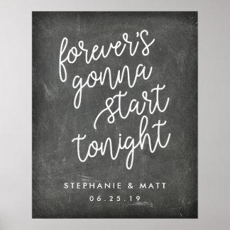 Forever | Chalkboard Wedding Welcome Sign