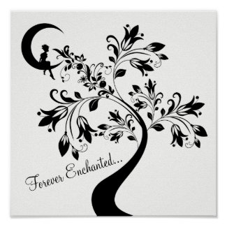 Forever Enchanted ~ Moon Love Girl ~ Flower Tree Poster