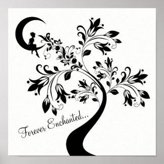 Forever Enchanted ~ Moon Love Girl ~ Flower Tree Poster
