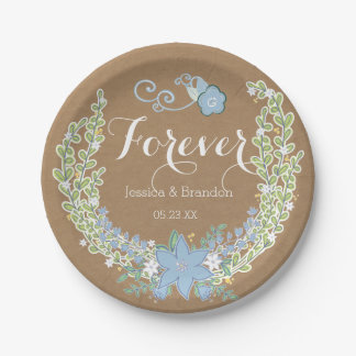 Forever floral azul de Belces que casa las placas Plato De Papel 17,78 Cm
