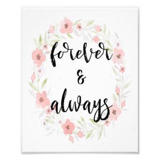 Forever floral de la acuarela y siempre impresión cojinete