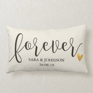 Forever,Forever Together,Personalized Wedding Gift Lumbar Pillow