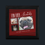 """Forever Friends Pet Photo Collage Gift Box<br><div class=""""desc"""">For the pet lover in your life,  this easy to use keepsake box template is a 3 photo collage option. All text is adjustable. The layout can also be changed with the customize more options. Hand drawn heart accent.</div>"""