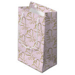 Forever Hearts Gold on Pink Small Gift Bag