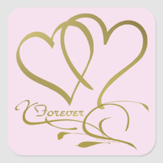 Forever Hearts Gold on Pink Square Sticker