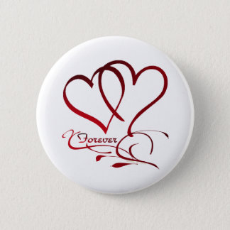 Forever Hearts Red on White Button