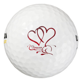 Forever Hearts Red on White Golf Balls