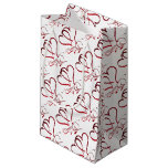 Forever Hearts Red on White Small Gift Bag