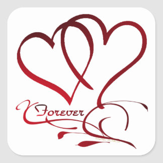 Forever Hearts Red on White Square Sticker