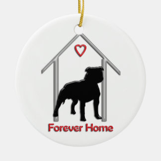 Forever Home Black Pitbull Logo Ceramic Ornament