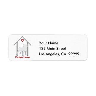 Forever Home White Pitbull Logo Return Address Label