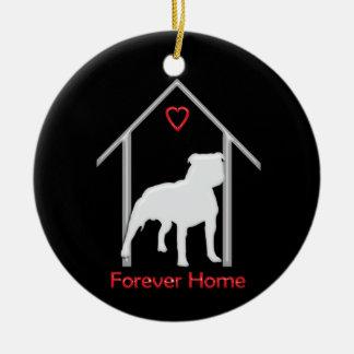 Forever Home White Pitbull Logo Double-Sided Ceramic Round Christmas Ornament