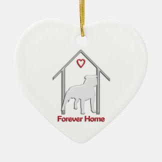 Forever Home White Pitbull Logo Double-Sided Heart Ceramic Christmas Ornament