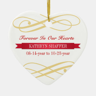 Forever In Our Hearts memory of memorial custom Double-Sided Heart Ceramic Christmas Ornament