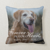 Forever in our Hearts Pet Photo Memorial Throw Pillow