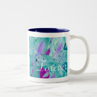 Forever Love Blue Floral Two-Tone Coffee Mug
