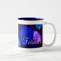 Forever Love Blue Purple Rose Two-Tone Coffee Mug