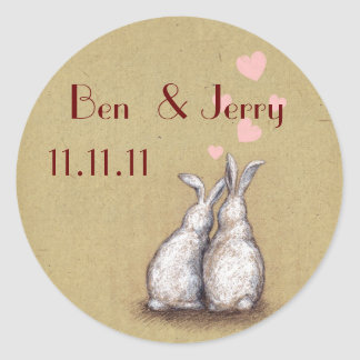 Forever Love Bunnies Custom Save The Date Sticker