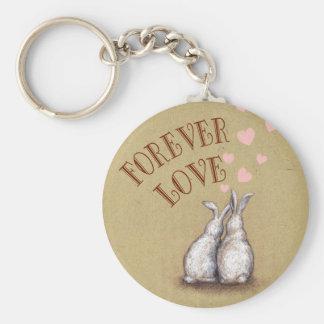 Forever Love Bunnies Basic Round Button Keychain