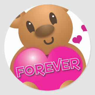 forever love cute bear classic round sticker