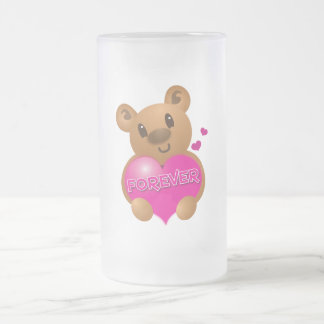 forever love cute bear frosted glass beer mug