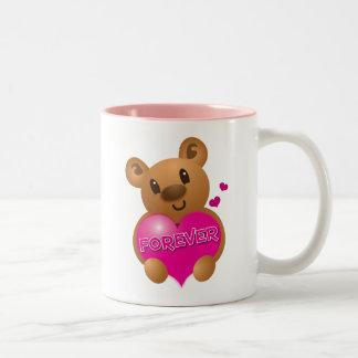 forever love cute bear Two-Tone coffee mug