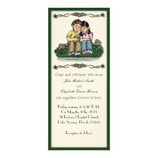 "Forever Love Invitation, Brunette/Asian Couple 4"" X 9.25"" Invitation Card"